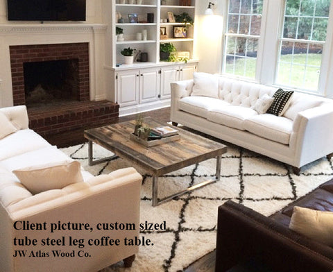 Reclaimed Wood Rectangular Coffee Table with Tube Steel Metal Legs, Greyish Wood