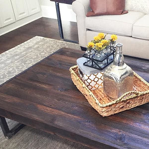 Reclaimed Wood Dark Walnut Stain Coffee Table Tube Steel Legs - Free Shipping - Coffee Tables