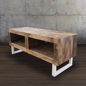 Reclaimed Wood Media Console White Tube Steel Legs - Free Shipping - Reclaimed Wood Media Console / Tv Stand 48