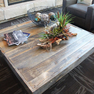 Reclaimed Wood Square Coffee And Two Side Table Set - Free Shipping - Coffee Tables