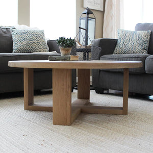 Round All Wood White Oak Coffee Table Modern Solid Wood - Free Shipping - Coffee Tables