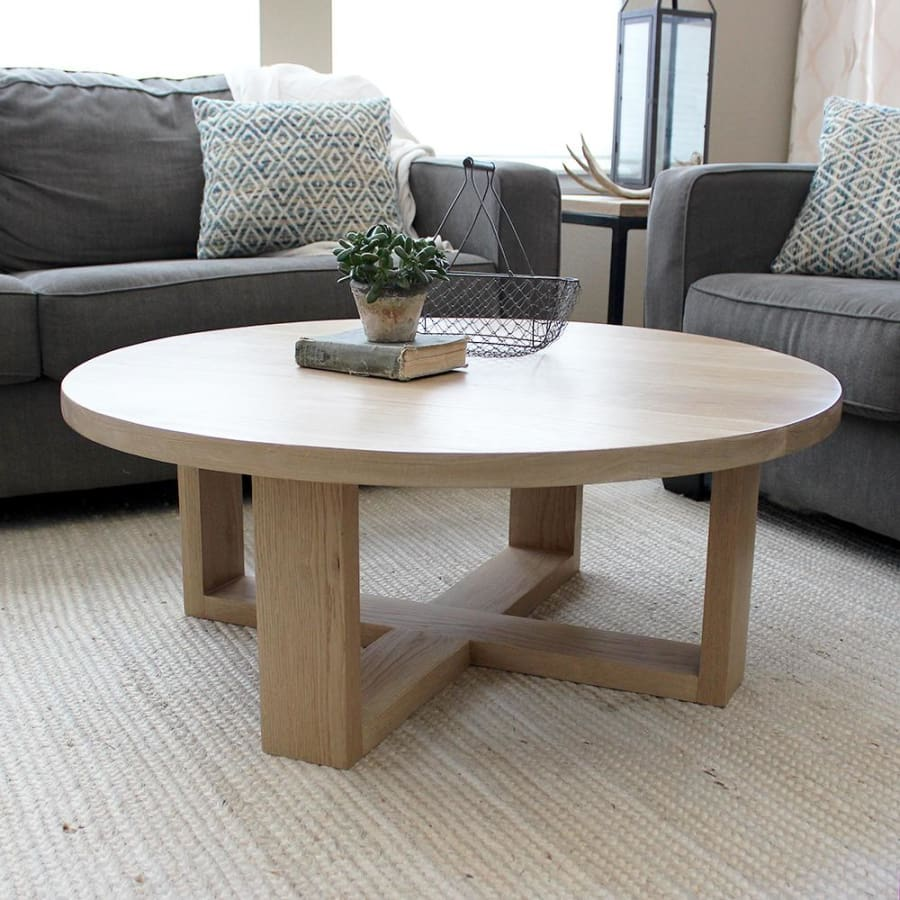 Awesome Round All Wood White Oak Coffee Table Modern Solid Wood Free Shipping Onthecornerstone Fun Painted Chair Ideas Images Onthecornerstoneorg