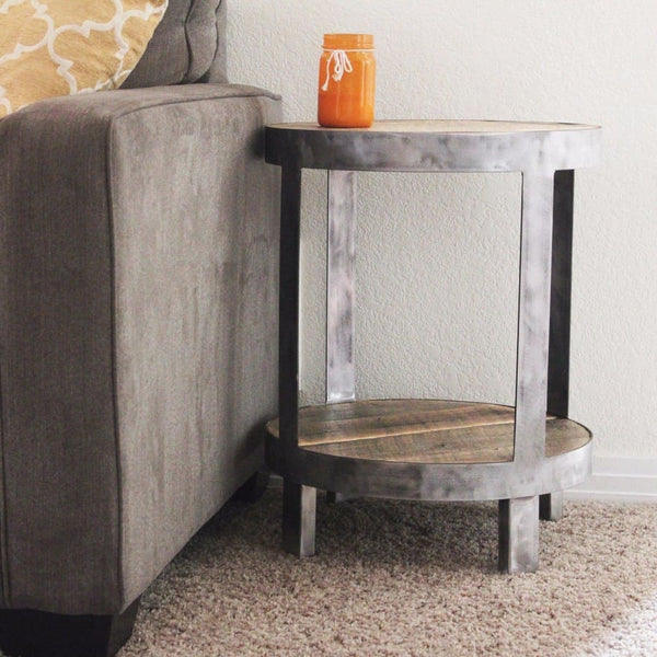 Hideout End Table Free Shipping: Round Steel Framed Reclaimed Wood End Table, Two Tier, Bi