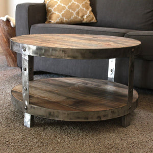 Reclaimed Wood And Metal Round Two Tier 30 Coffee Table - Free Shipping - Coffee Tables