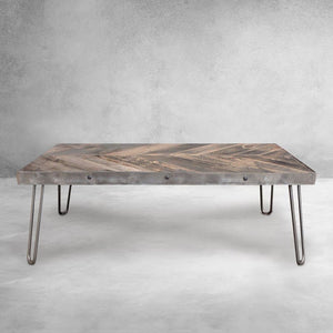 Steel Framed Reclaimed Wood Coffee Table Chevron Pattern Top - Free Shipping - Coffee Tables