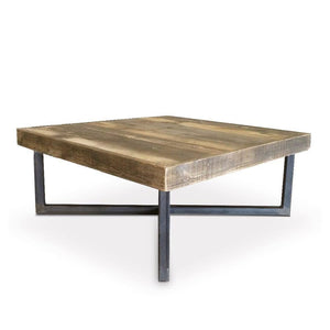 Reclaimed Wood And Metal Coffee Table Crossed Tube Steel Legs - Free Shipping - Coffee Tables
