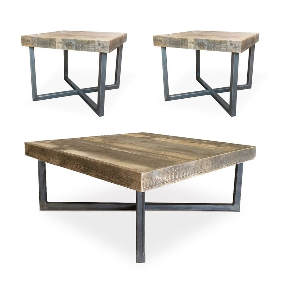 Mid Century Modern Reclaimed Wood Coffee Table And End Tables