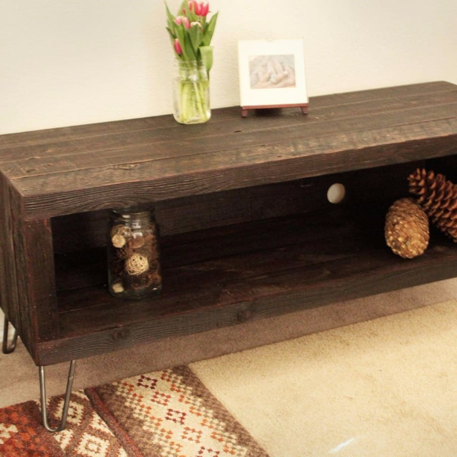 Dark Stain Reclaimed Wood Television Stand - Free Shipping - Reclaimed Wood Media Console / Tv Stand 48