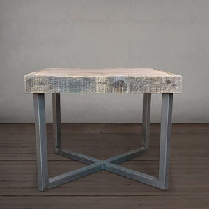 Reclaimed Wood And Metal End Table Square - Free Shipping - Side And End Tables