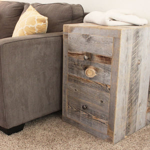 Reclaimed Wood Two Drawer Nightstand End Table - Free Shipping - Side And End Tables