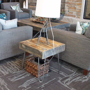 Reclaimed Wood Side End Table Hairpin Legs - Free Shipping - Side And End Tables