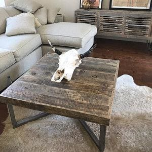 Reclaimed Wood And Metal Square Coffee And End Tables Set - Free Shipping - Coffee Tables