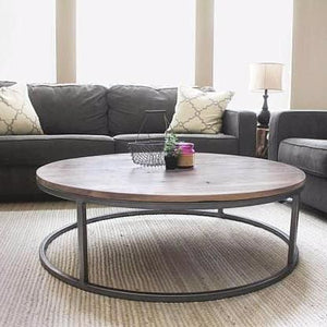 Round Walnut Wood And Metal Coffee Table And Two End Tables Set - Free Shipping - Coffee Tables