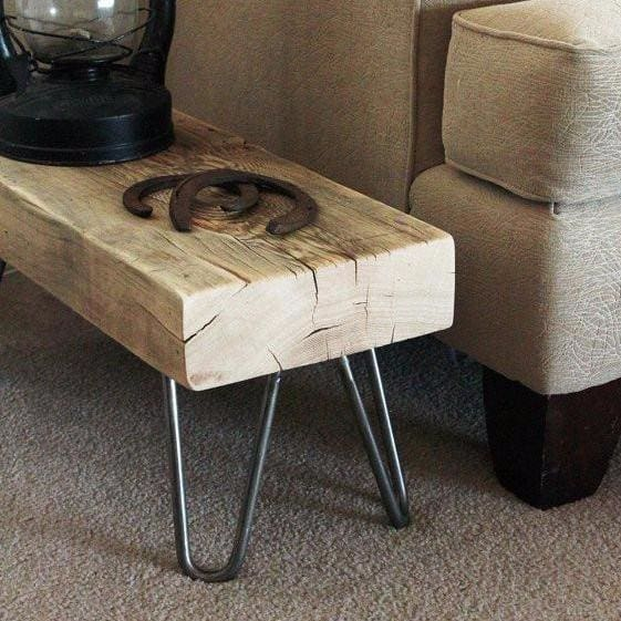 Super Reclaimed Wood Beam Bench Small Hairpin Leg Bench Or Side Table Free Shipping Ibusinesslaw Wood Chair Design Ideas Ibusinesslaworg