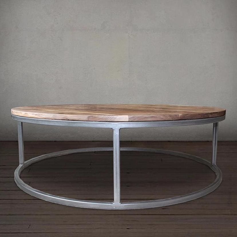Round Walnut Wood And Metal Coffee Table Wood Top Steel Frame