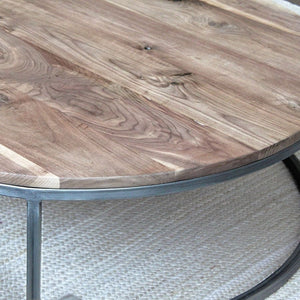 Round Walnut Wood And Metal Coffee Table Wood Top Steel Frame - Free Shipping - Coffee Tables