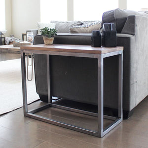 Walnut Wood And Metal Long End Side Table Sofa Table - Free Shipping - Side And End Tables