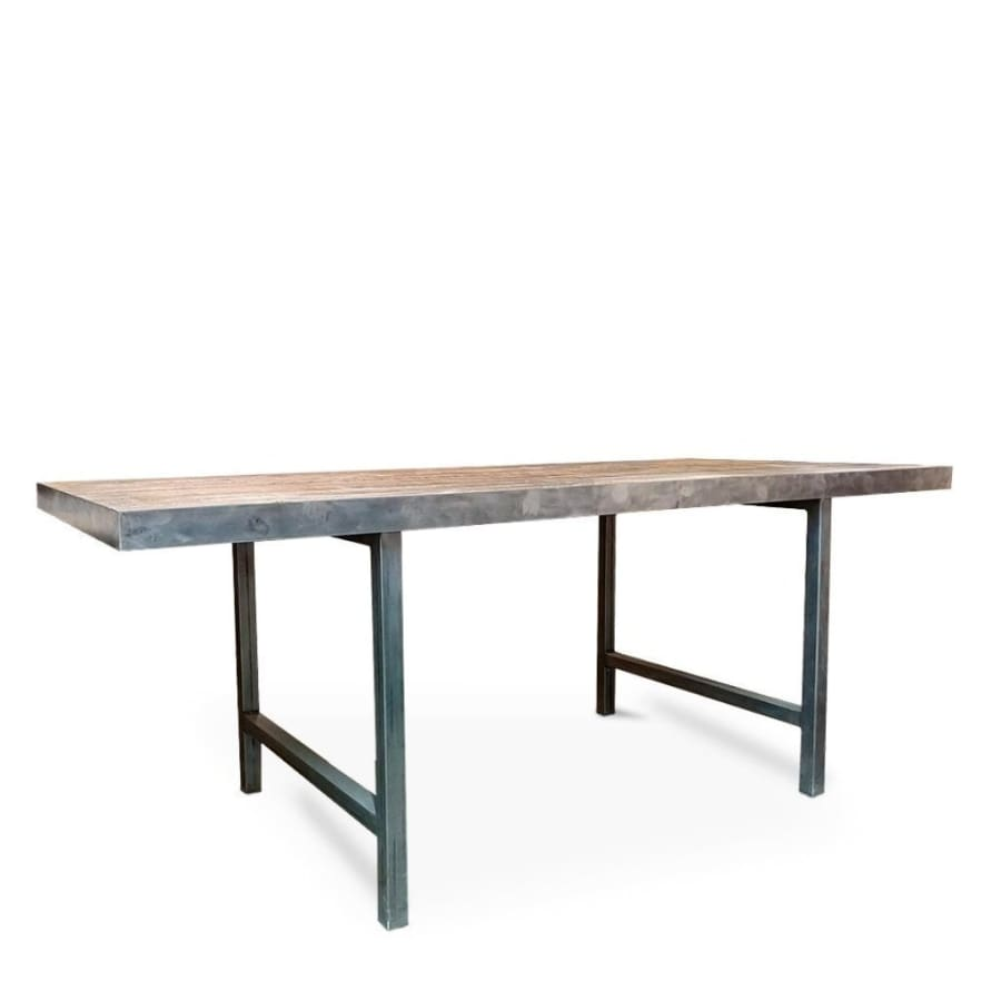 Tall Reclaimed Wood And Metal Table - Free Shipping - Dining Table And Bench