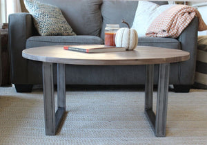 Round Walnut Wood And Metal Coffee Table Tube Steel Legs - Free Shipping