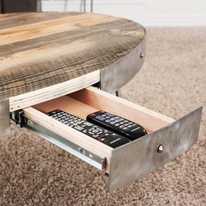 Reclaimed Wood Oval Coffee Table With Hidden Drawer - Free Shipping - Coffee Tables