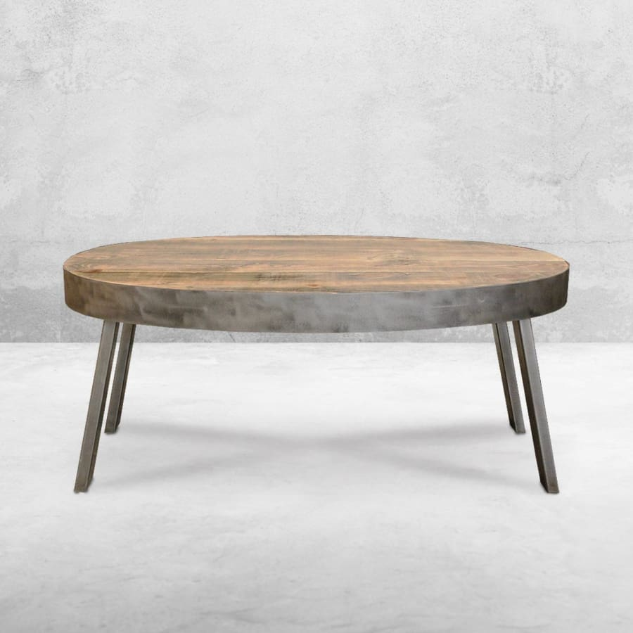 Oval Coffee Table, Reclaimed Wood, Industrial