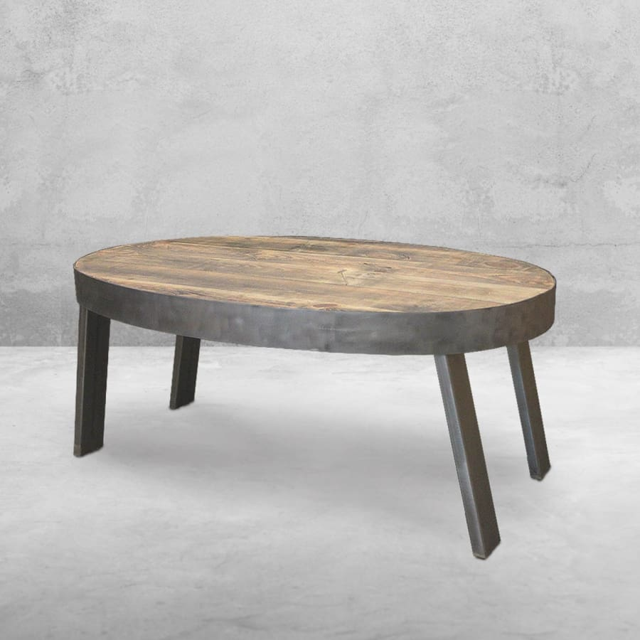 Suffolk Simplicity Reclaimed Wood Square Industrial Coffee: Oval Coffee Table, Reclaimed Wood, Industrial