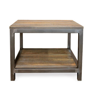 Reclaimed Wood And Metal End Table Two Tier - Free Shipping - Side And End Tables