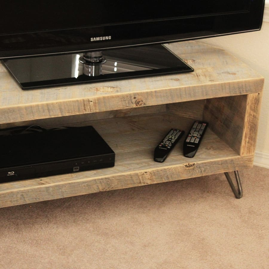 Reclaimed Wood Media Console Tv Stand Corner Unit - Free Shipping - Reclaimed Wood Media Console / Tv Stand 48
