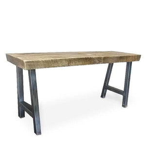 Reclaimed Wood And Metal Tube Steel Bench With A Frame Legs - 60 - Free Shipping - Benches