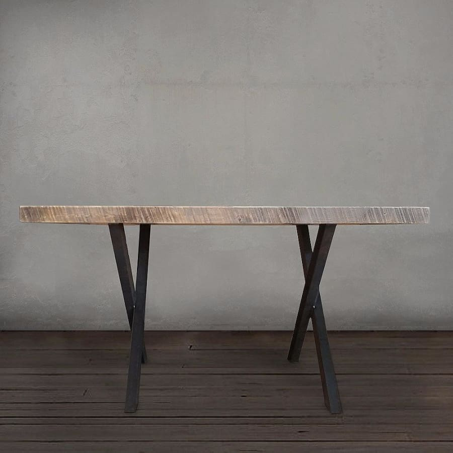 Reclaimed Wood And Metal Dining Or Office Table Crossed Legs - Free Shipping - Dining Table And Bench