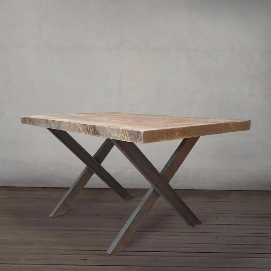 Reclaimed Wood and Metal Dining or Office Table, Crossed Legs - Free  Shipping