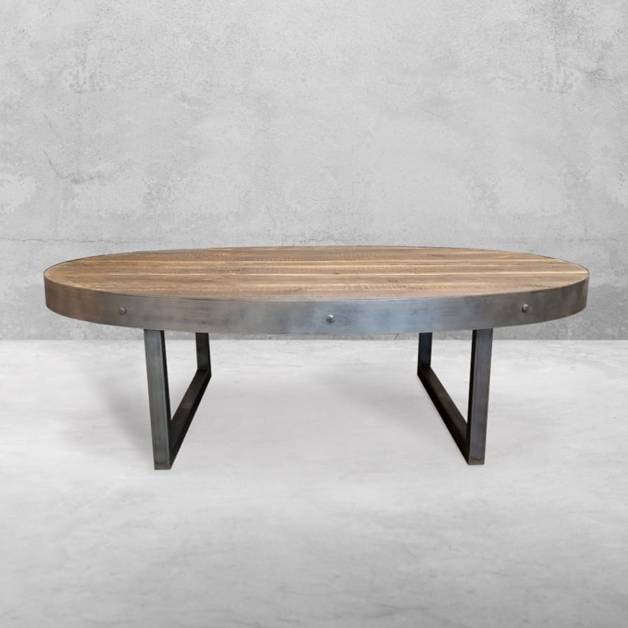 Oval Wood And Metal Coffee Table: Oval And Round Tables