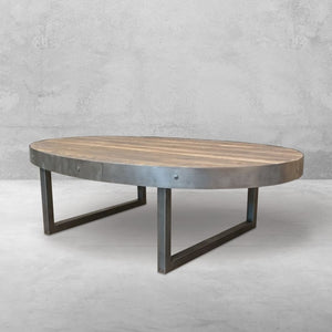 Oval Reclaimed Wood And Metal Coffee Table - Free Shipping - Coffee Tables