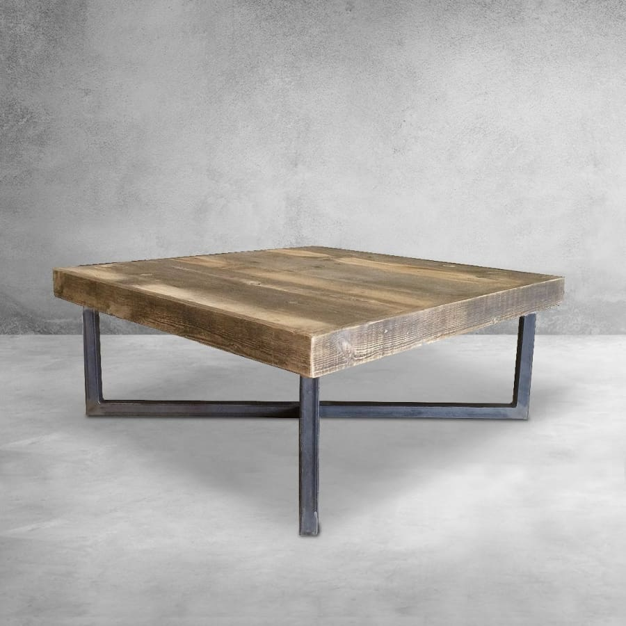 Reclaimed Wood and Metal Coffee Table, Crossed Tube Steel Legs - Free  Shipping