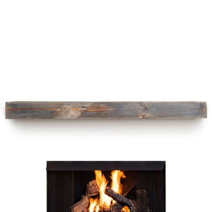 Reclaimed Wood Beam Gray Toned Fireplace Mantel Floating Shelf - Free Shipping - 72W X 8D X 5H - Mantel Floating Shelf