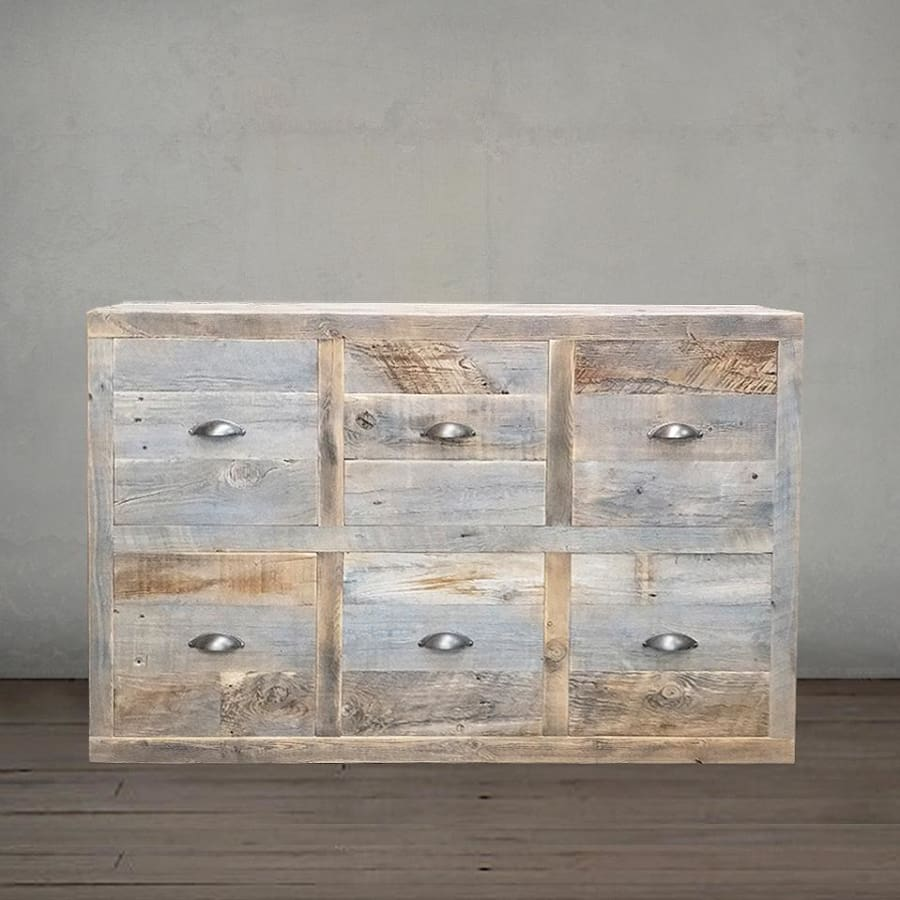promo code 92058 ce2f9 Reclaimed Wood Dresser, Console, Grey Wood Chest of 6 Drawers - Free  Shipping