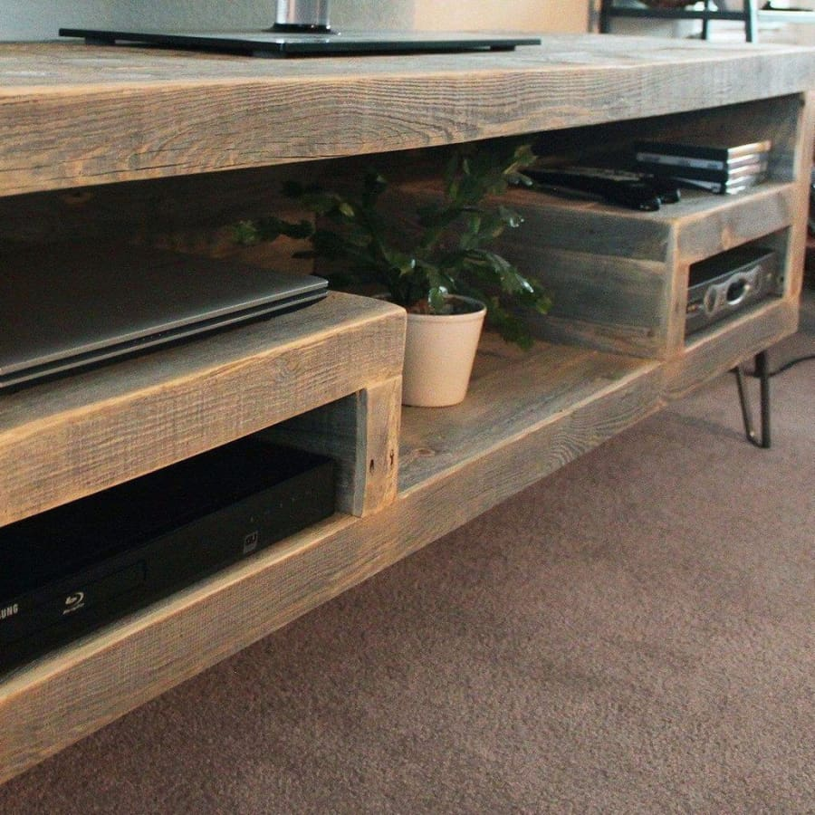 Modern Reclaimed Wood Television Stand Open Shelving - Free Shipping - Reclaimed Wood Media Console / Tv Stand 48
