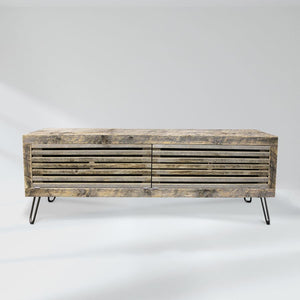 Reclaimed Wood Media Console Slat Wood Doors - Free Shipping - Consoles