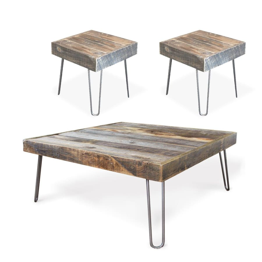 Reclaimed Wood Modern Farmhouse Square Coffee And End Table Set Jw