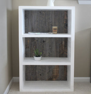 Reclaimed Wood Painted White And Grey Wood Bookshelf Bookcase - Free Shipping - Bookshelf Bookcase Media Console