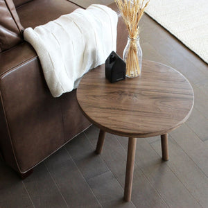 Walnut Wood Round All Wood Spindle Leg End Table - Free Shipping - Side And End Tables