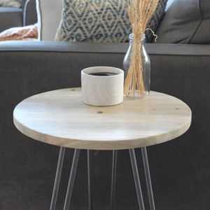 Beetle Kill Wood End Table Hairpin Metal Legs - Free Shipping - Side And End Tables