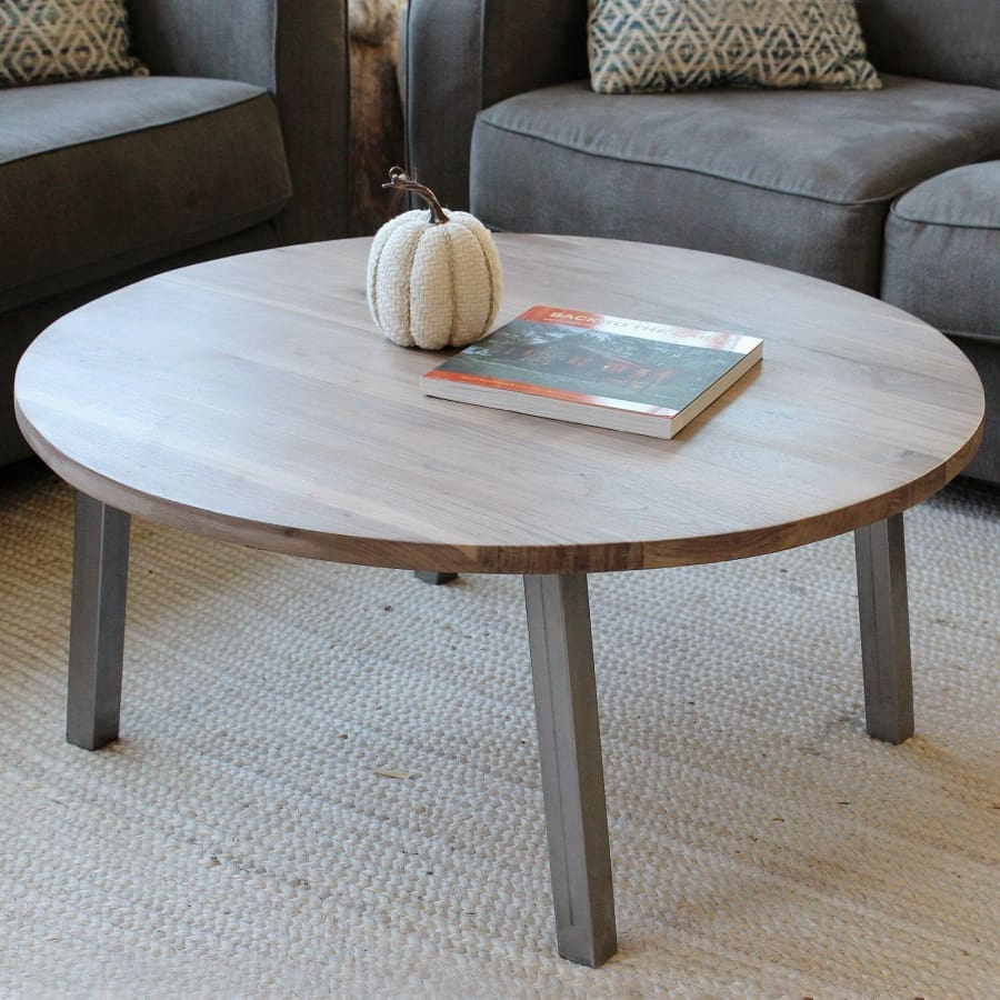 Round Walnut Wood And Metal Coffee Table Straight Tube Steel Legs