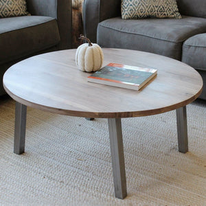 Round Walnut Wood And Metal Coffee Table Straight Tube Steel Legs - Free Shipping