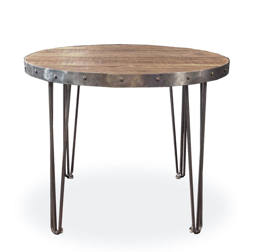 Terrific Round Wood And Metal Cafe And Bistro Table Reclaimed Wood Andrewgaddart Wooden Chair Designs For Living Room Andrewgaddartcom
