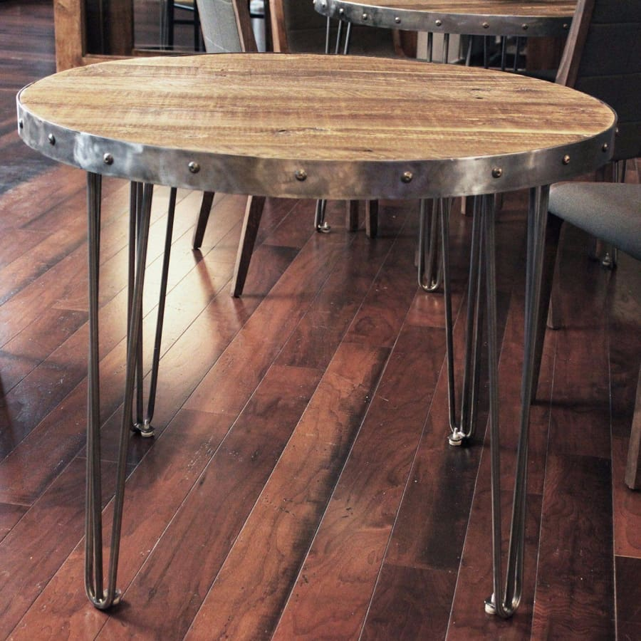 Strange Round Wood And Metal Cafe And Bistro Table Reclaimed Wood Top Steel Frame Free Shipping Andrewgaddart Wooden Chair Designs For Living Room Andrewgaddartcom