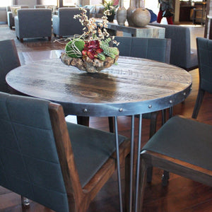 Round Wood And Metal Cafe And Bistro Table Reclaimed Wood Top Steel Frame - Free Shipping - Dining Table And Bench