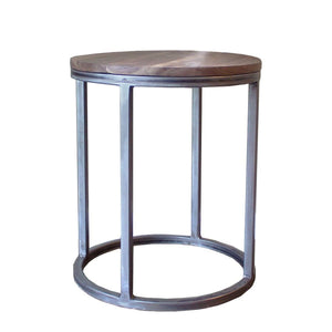 Walnut Wood And Metal Round End Table Two Tier - Free Shipping - Side And End Tables