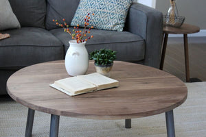 Round Walnut Wood And Metal Coffee Table Round Tube Steel Legs - Free Shipping
