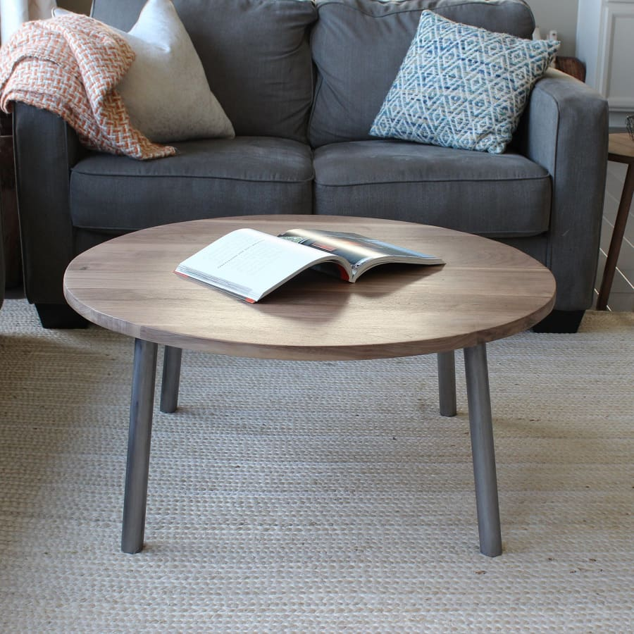 Round Walnut Wood And Metal Coffee Table Round Tube Steel Legs Free Shipping